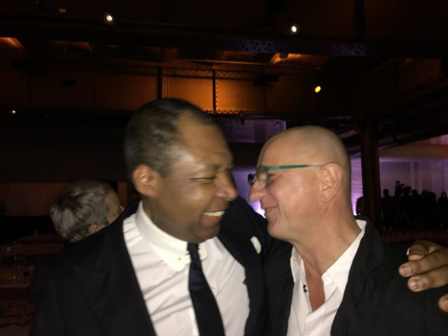 Okwui Enwezor and Artur Walther at the Performa gala