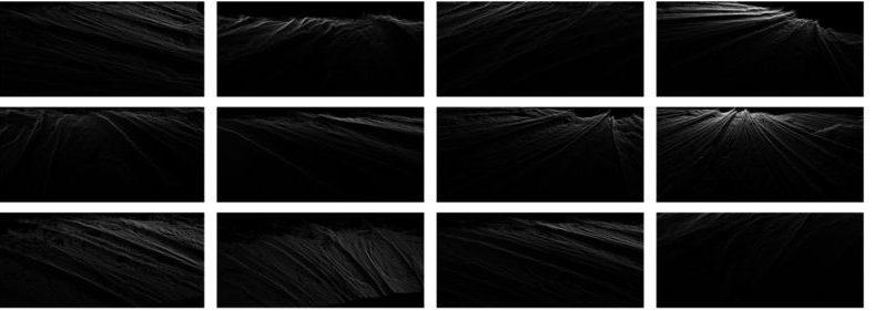 Jean Brundrit, Making the Waves, 2012. 3D laser scans, pigment ink on matte paper, 1000 x 460 mm (each)