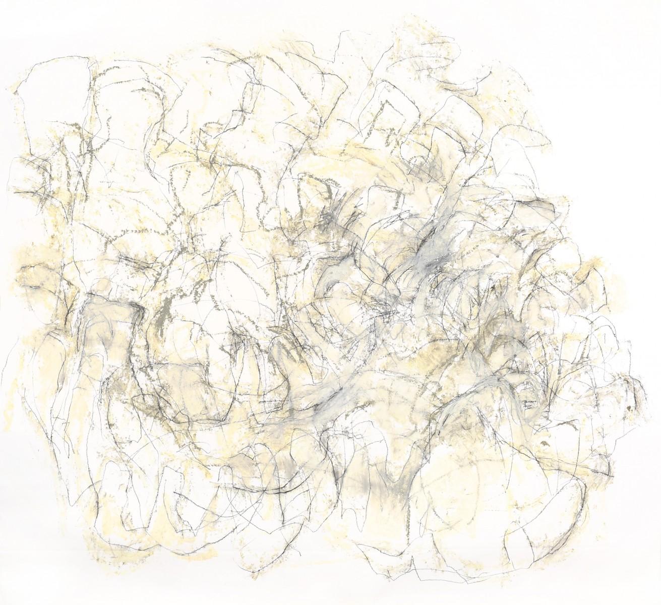 Liz Crossley, <i>Folding in</i>, 2014-2016. Charcoal, 150 x 220 cm