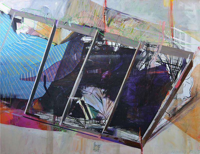 Dorothee Kreutzfeldt, <i>extensions to the lot line 1</i>, 2017. Acrylic and mixed media on canvas, 140 x 180 cm