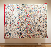Olivié Keck <i>Bless You</i>, 2014. Quilt made with handkerchiefs, thread and cotton, 200 x 260 cm