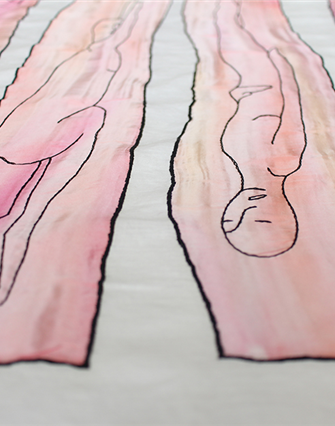 Olivié Keck The After Party (detail), 2014. Linen, silk and embroidery cotton, 120 x 147 cm