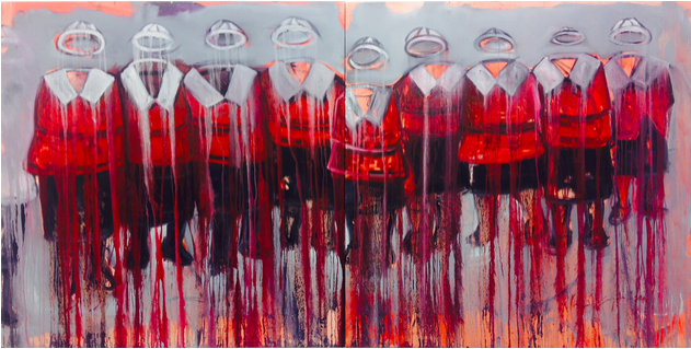 Khaya Sineyile uMama - Be Bttatyi Boyaziwa, 2014. Oil and mixed media on canvas (diptych), Each: 150 x 150 cm