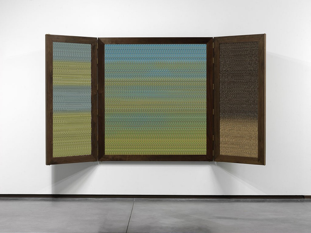 Mikhael Subotzky Verdaille II: After Christopher Sibidla, 2014. Five inkjet prints in custom walnut triptych frame, two autostereograms. Two in an edition of three variations with two APs, 181 x 168 cm (closed), 181 x 336 cm (open)