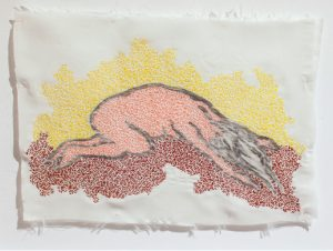 Olivié Keck Lost in the light III, 2014. Silk, relief printing ink and embroidery cotton, 24 x 32 cm
