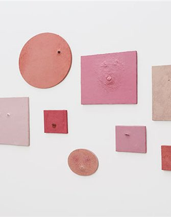Penny Siopis Pinky Pinky series, 2002-2005. Installation of 10 paintings, oil and found objects on canvas
