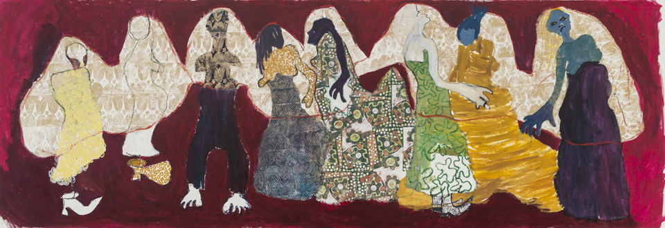 Portia Zvavahera Vhoiri Rimwe, 2014. Oil-based printing ink and oil bar on canvas, 157 x 455 cm