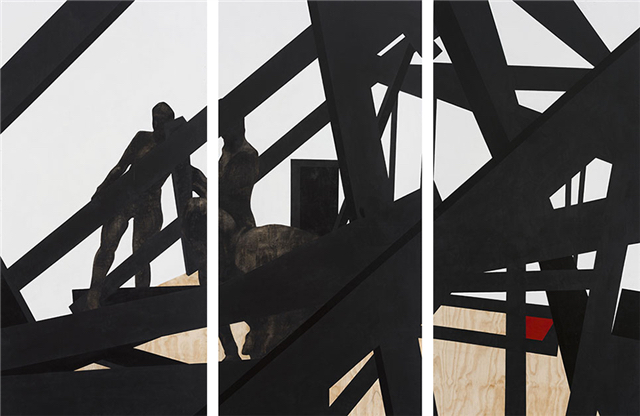Serge Alain Nitegeka BLACK SUBJECTS: Still II, 2014. Paint and charcoal on wood (triptych), Each: 244 x 122 x 8 cm