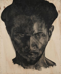 Serge Alain Nitegeka Self-Portrait I, 2014. Charcoal on wood, 144.5 x 119.5 x 9.5 cm