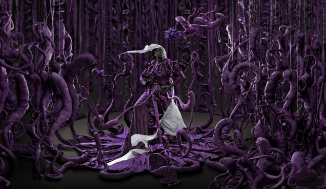 Mary Sibande, <i>A Terrible Beauty is Born</i>, 2013. Digital pigment print, 110 x 321.5 cm © Mary Sibande, courtesy of the artist and Gallery MOMO