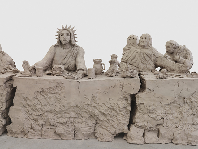 Urs Fischer  last supper 2014, Cast bronze, 144.8 x 767.1 x 147.3 cm