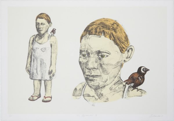 Claudette Schreuders, The Bystander 2. Lithographic print on cotton rag paper, 38 x 55.5 cm