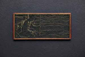 Pierre Fouché, James, 2015. Silk floss, wood, brass pins, 14.4 x 32.8 cm