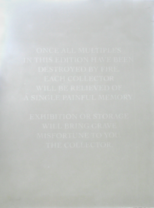James Webb, You, the Collector. Traditional relief watermarked hand-made paper multiple, 66.5 x 50.5 cm