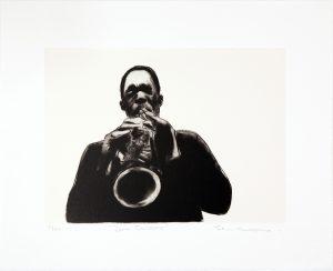 Sam Nhlengethwa, John Coltrane. A two-colour chine collé lithographic print, 36.5 x 46 cm