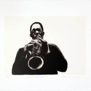 Sam Nhlengethwa, John Coltrane. A two-colour chine collé lithographic print, 36.5 x 46 cm