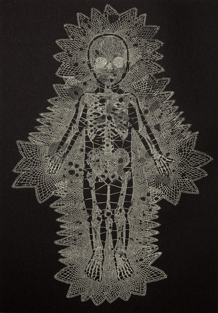 Walter Oltmann, Lace, detail. Etching on Hahnemuhle paper, 78.5 x 53.5 cm