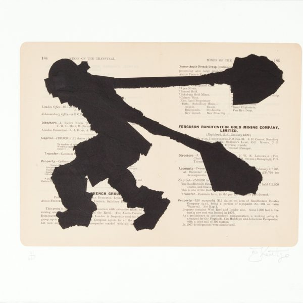 William Kentridge, Village Deep. A chine collé silhouetted image on de-acidified book pages