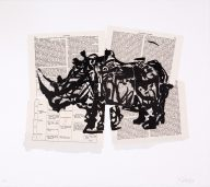 William Kentridge, Untitled. Two-run hand printed lithograph and collage, using India Ink on Chambers Encyclopedia book pages.