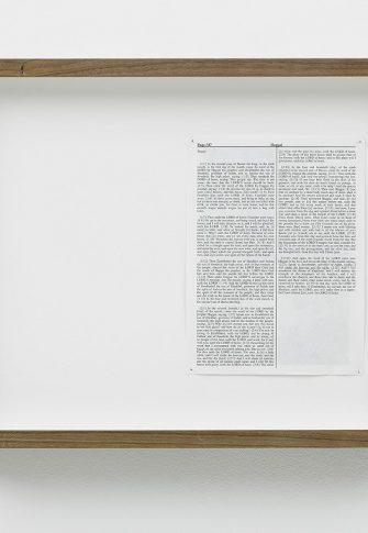 Adam Broomberg & Oliver Chanarin, Haggai, 2013. King James Bible, Hahnemühle print, brass pins, Framed: 34.5 x 45.5 x 5 cm. Edition of 3