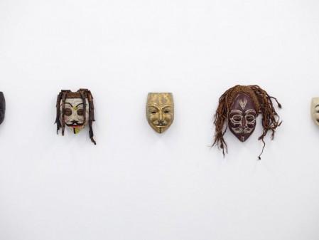 Dan Halter, V for Vendetta, 2015. African masks, dimensions variable