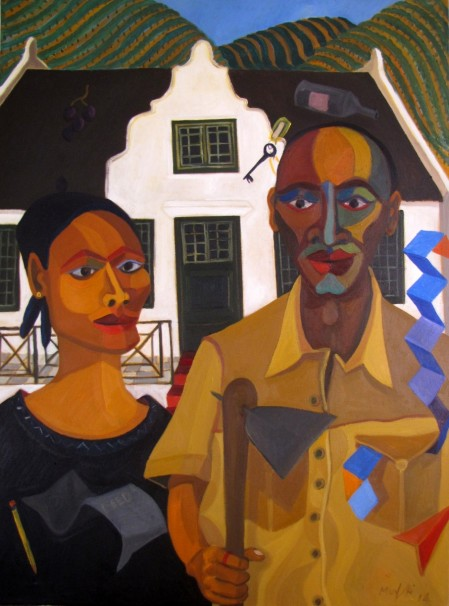 Richard Mudariki Land Redistributed: The New Farmer and His Wife, 2015. Oil on canvas, 101 x 76 cm