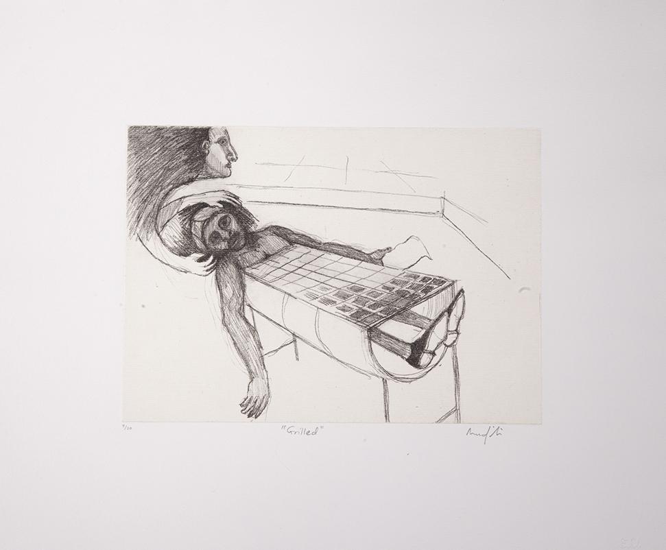 Richard Mudariki, Grilled, 2014. Chine-colle etching, 34 x 41 cm
