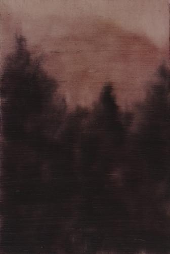 Alexia Vogel <i>Wald</i> (2015) Oil on paper.  128 x 182 mm