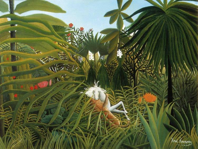 Henri Rousseau <i>Horse attacked by Jaguar</i> (1910) Oil on Canvas