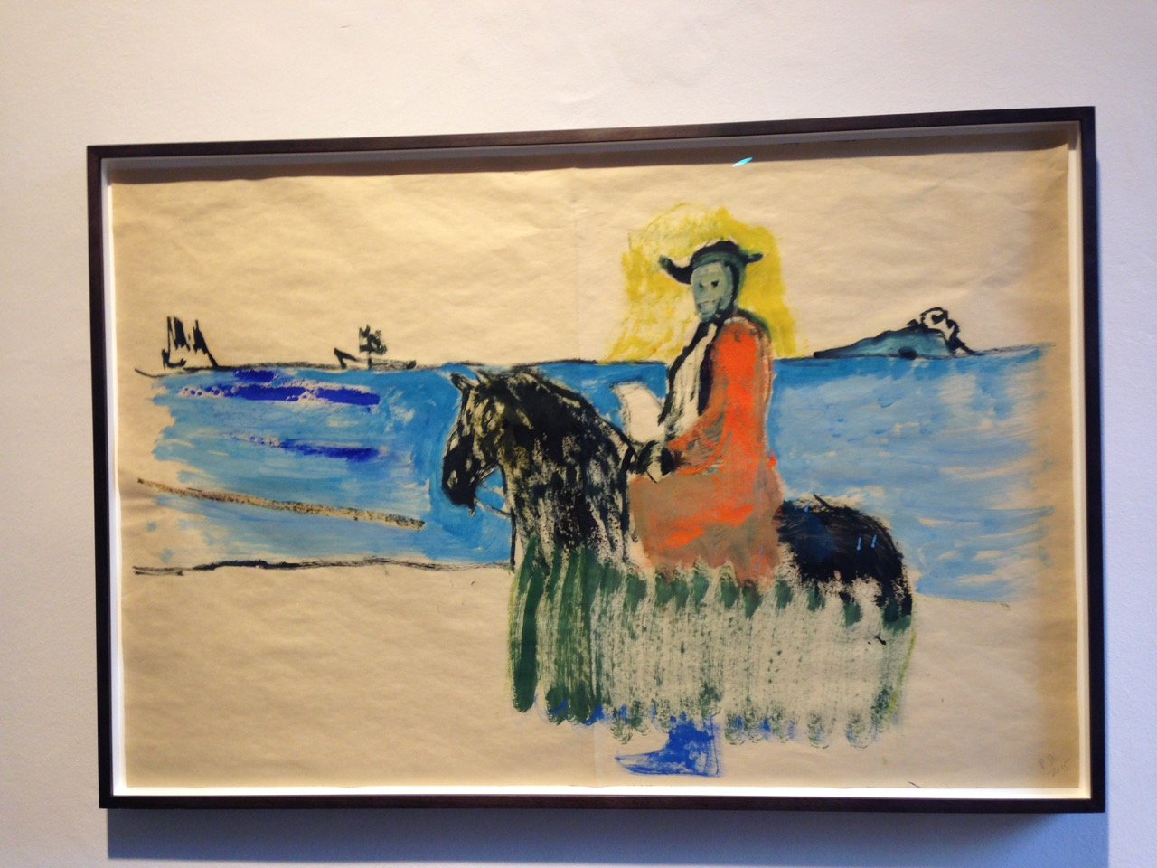 Peter Doig <i>Horse and Rider</i> (2014) Oil and distemper on paper.  64 x 94,5 cm