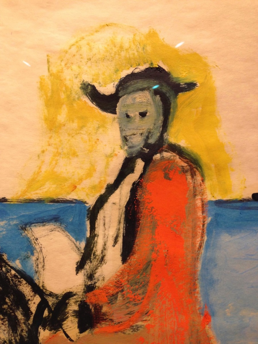 Peter Doig <i>Horse and Rider</i> (Detail) (2014) Oil and distemper on paper.  64 x 94,5 cm