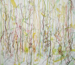 Ghada Amer, <i>Dreaming of Felipe-RFGA</i>, 2010. Embroidery, acrylic and gel medium on canvas, 71.1 x 80cm