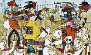 Blessing Ngobeni, <i>No King No War</i>,2015. Mixed media on canvas (diptych), 180x300cm