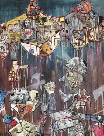Blessing Ngobeni, Untouchable (politician), 2015. Mixed media on canvas, 174 x 300 cm