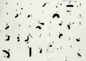 Jared Ginsburg, Tempo with 3 parts (paper; ink; tape), 2015. Pencil, ink and tape on paper; 66.4 x 92cm