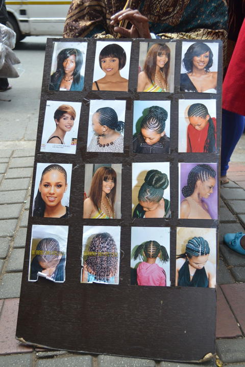 Hairstyle advert, Bree Street, photo: Mpho Matsipa