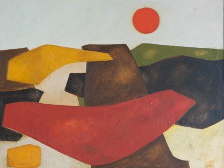 Erik Laubscher Landskap Met Son, Oil on Canvas