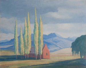 Jacobus Hendrik Pierneef <i>Near Fouriesburg</i>, 1945. Oil on Board,