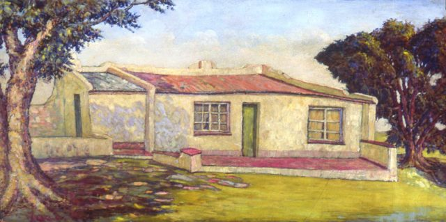 Moses Tladi, The House in Kensington BUndated,Oil on masonite