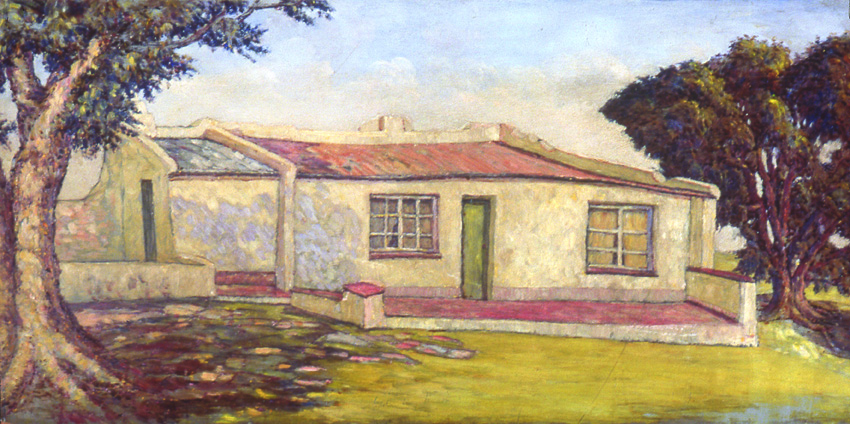 Moses Tladi, The House in Kensington BUndated,Oil on masonite
