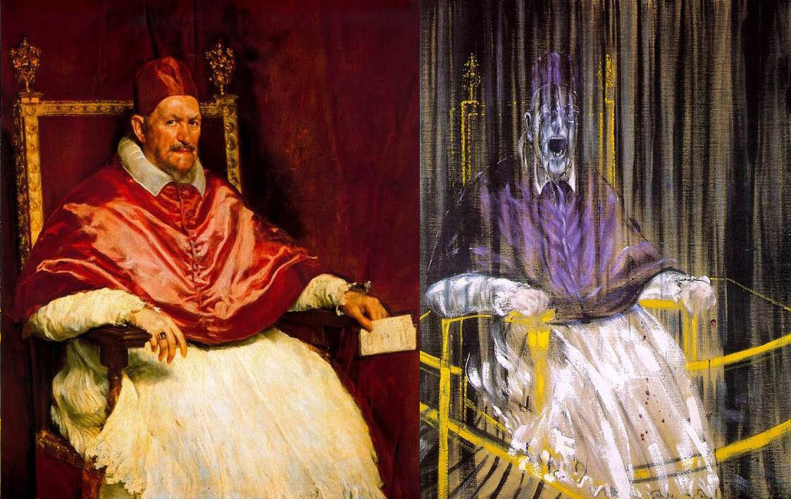 [Left] Diego Velázquez, <i>Portrait of Innocent X </i>(c.1650), [Right] Francis Bacon, <i>Study after Velázquez's Portrait of Pope Innocent X </i>(1953)