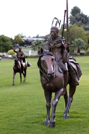 Helena Vogelzang, Xhosa King Sandile astride a Cape Horse or 'Boer Perd, installation: National Heritage Project. Image: Helena Vogelzang