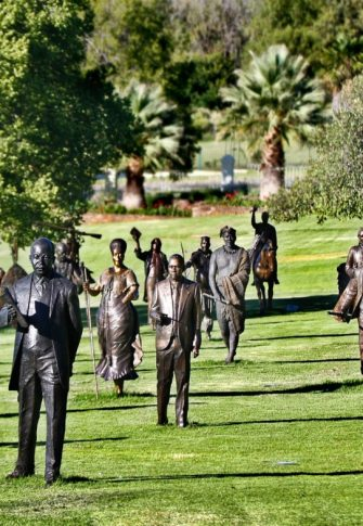 The first group of 24 completed figures for the National Heritage Project on temporary exhibition at Oliewenhuis Art Museum. Image: National Heritage Project