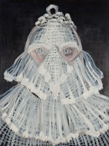 Lizza Littlewort, The Concealing Habit of White Entitlement, 2015. Oil on board, 80x60cm