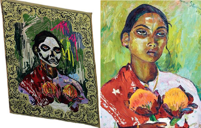 (Left) Athi-Patra Ruga, Portrait of an Indian Woman (After Irma Stern 1936), 2012. (Right) Irma Stern,Portrait of an Indian Woman, 1936