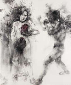 Diane Victor <i>Shadow Boxer</i>, 2015. Charcoal, pastel and ash on paper 150 x 128cm