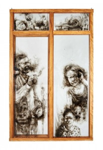 Diane Victor People in Glass Houses, 2015. Smoke on glass, found window 179.5 x 164.5 x 6.5 cm