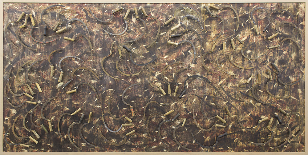 Willem Boshoff Reap the Whirlwind 2015. Wood and farmer's sickles. 187 x 373 x 7 cm