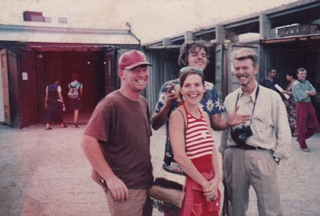 David Bowie with Kate Gottgens, Barend de Wet and Wayne Barker in Johannesburg. Image courtesy of Barend de Wet