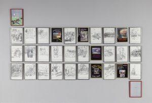 Sue Williamson, <i>Colouring In</i>, 1992. Colour laser prints, decoupage frames, lead, black paint, silver foil, cellophane